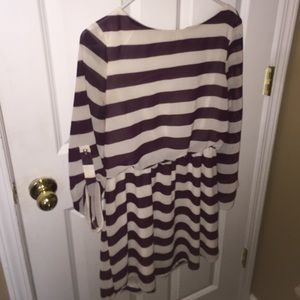 Striped dress purple and white