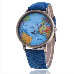 World map watch blue gold