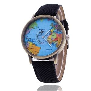 World map watch black gold