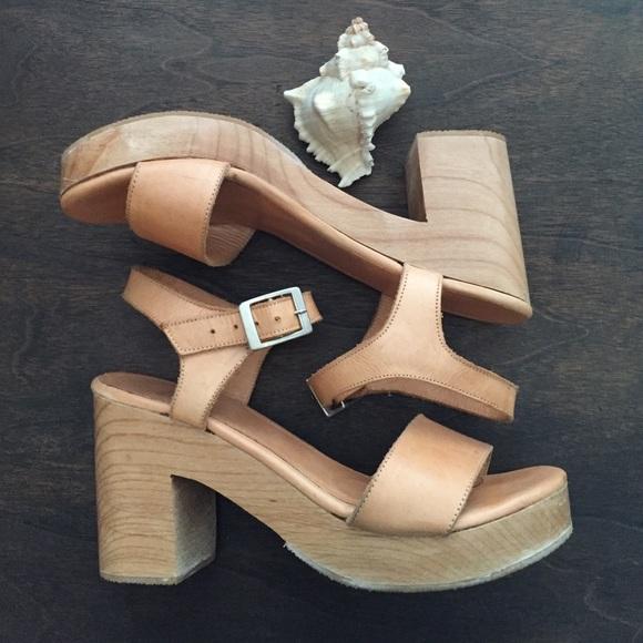 dbdc6ac46f1 American Apparel Shoes - American Apparel Nude Wooden Heel Sandal