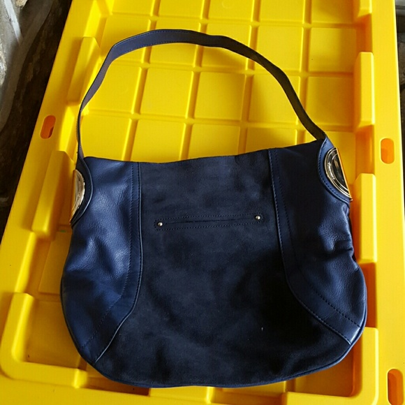81% off b. makowsky Handbags - B.MAKOWSKY NAVY BLUE SUEDE HANDBAG ...