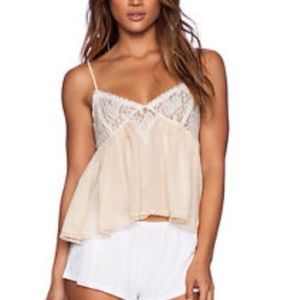 FREE PEOPLE SWEET LACE CAMI IN PEACH