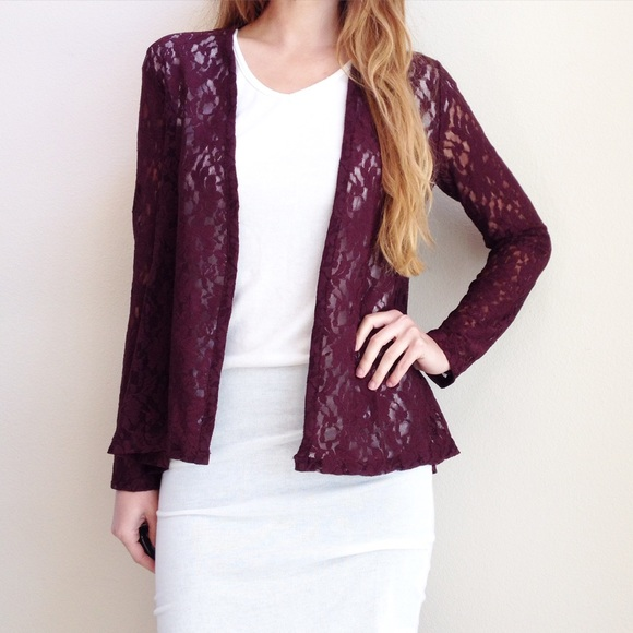 burgundy lace sweater XSJ from • mandysue's closet on Poshmark