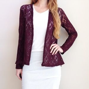 Sweaters - burgundy lace sweater