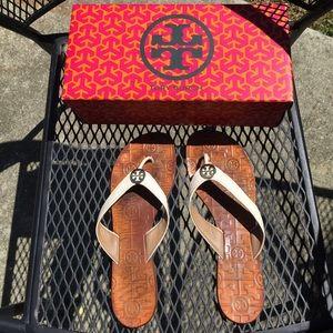 e5ce63a78e0e Tory Burch Shoes - Tory Burch Thora flip flops cream size 9