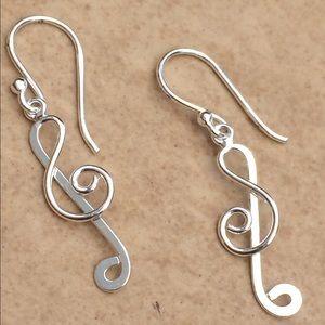 Jewelry - Sterling Silver 925 Treble Clef Music Drop Earring