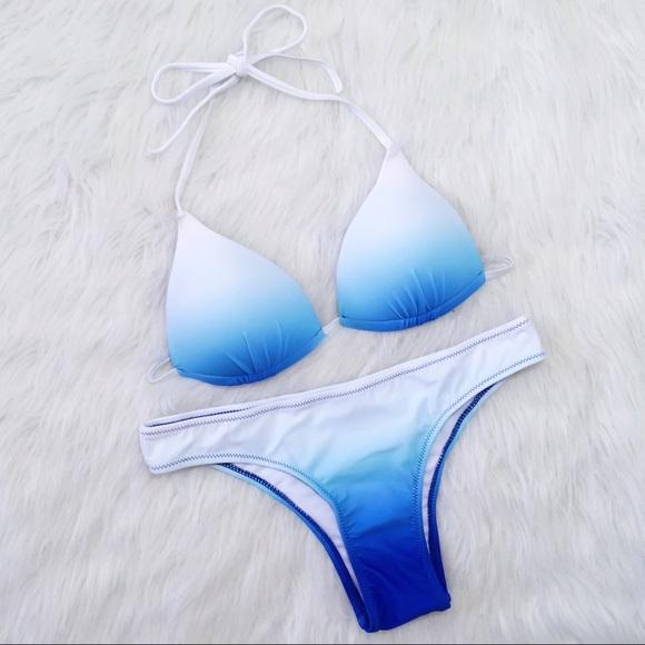 ae4c2c29244 Topshop Swim   Blue And White Ombre Bikini Set   Poshmark
