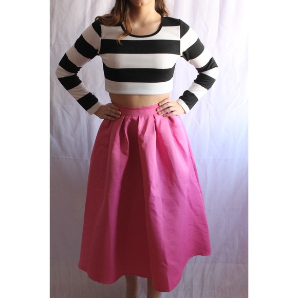 931e8e2c40 Dresses & Skirts - Black & White Striped Top with Pink Skirt