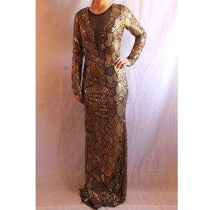 NWT Gold Sequined Long Sleeve Formal Dress.