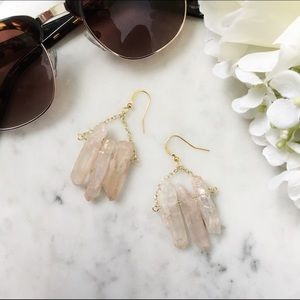 Rose Quartz Earrings - gold