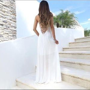 Showpo Summer Nights Maxi Dress (white)