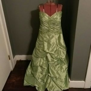 Long strapless dress.
