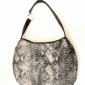 Hobo Bag Black Reptile Pattern