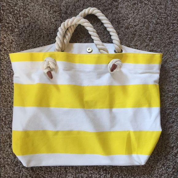 50% off Forever 21 Handbags - Yellow Striped Beach Tote from ...