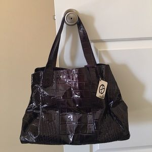 Elegant, deep plum, vinyl croc embossed purse.