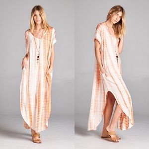 Dresses & Skirts - Tie Dye Pocketed Maxi in BLUSH