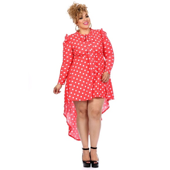 75% off Dresses & Skirts - Coral and white polka dot plus size ...