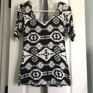 Black and white Aztec print shirt