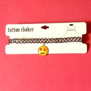 Jewelry - NWT emoji heart eyes tattoo choker