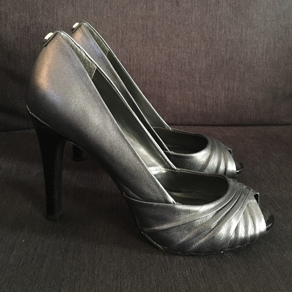 56% off Monet Shoes - Dark silver shimmer Leather Peep toe ...