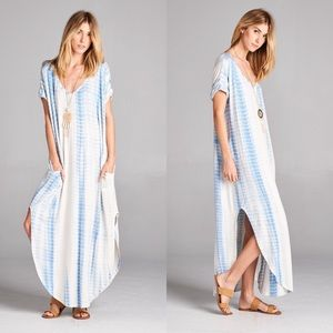 Dresses & Skirts - Tye Dye Pocketed Maxi in SKY BLUE