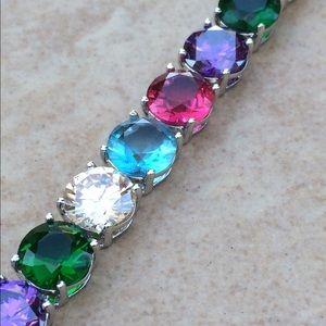 Rhodium Plated Multi-Color CZ Tennis Bracelet