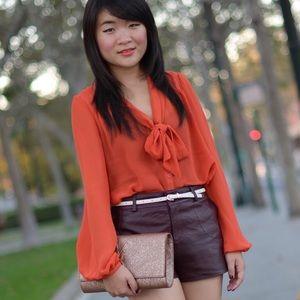 H&M Tops - H&M Orange tie neck blouse