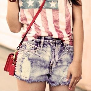 Forever 21 Pants - New destroyed studded ripped denim shorts
