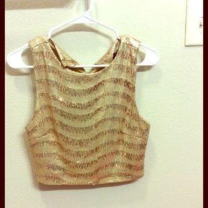 Gold sequin crop top!