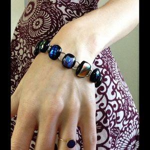 Chico's Jewelry - Fireglass Shimmer Luster Black Rainbow Bracelet