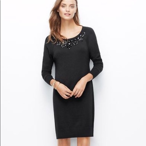 8498dba03ef Ann Taylor Dresses   Skirts - Ann Taylor Black Embellished Sweater Dress