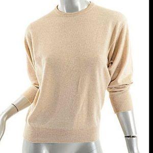 Ballantyne Sweaters - BALLANTYNE Oatmeal 100% Pure Cashmere Jewel Neck