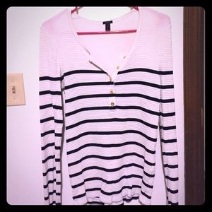 Long sleeve navy and crime striped J Crew shirt