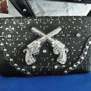 Handbags - Sold!!! Black Western Metal Guns Wallet/ Clutch