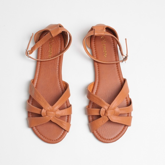 ed37d369bca Cognac Open Toe Faux Leather Huaraches Sandals
