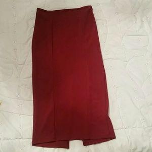 Wine red midi skirt