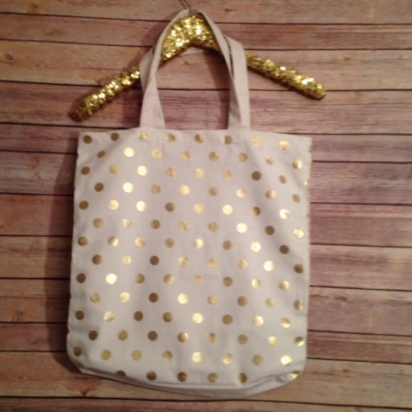 466c607381 NWT Gold Polka Dot on White Canvas Tote Bag