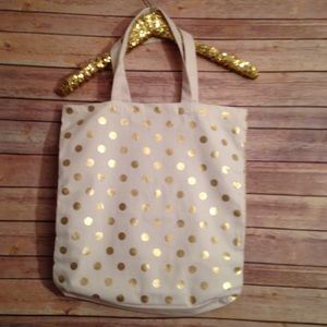 Handbags - NWT Gold Polka Dot on White Canvas Tote Bag