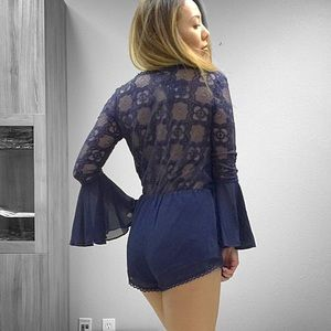 LF Pants - Navy Bell Sleeve Lace Back Romper XS S M L
