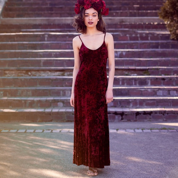 48202cd7154d7 Crushed Red Velvet Dress vintage free people urban