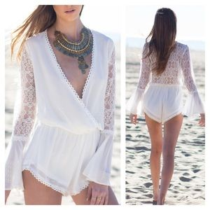 LF Pants - NWT White Lace Back Bell Sleeve Romper