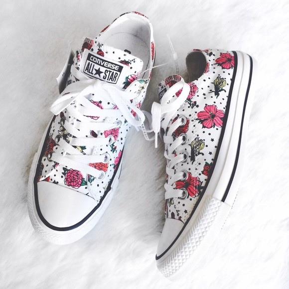 Converse - White Floral Printed and Polka Dot Converse from ...