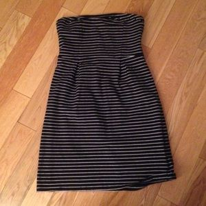 Old Navy Black and White Strapless Dress