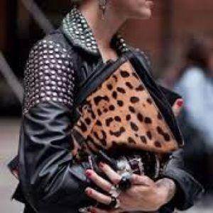 NWOT Leopard pony hair clutch/crossbody