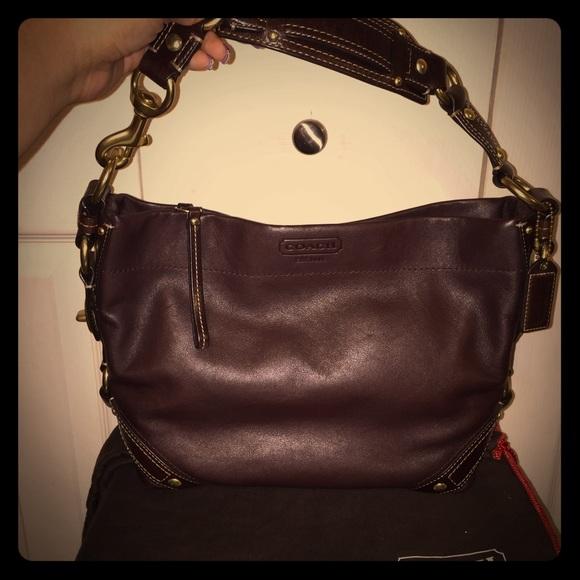 42aa839c Dark Brown Leather Coach Purse