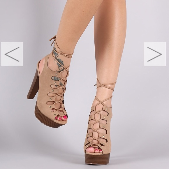 e6005cf1688 Lace Up Strappy Chunky Platform Nude Heels