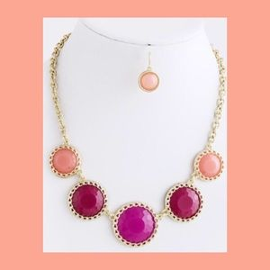 Jewelry - NWT Circle Jewel Necklace & Earrings Set