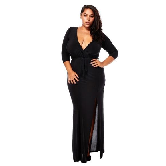 Black Plus Size Maxi Dresses with Split