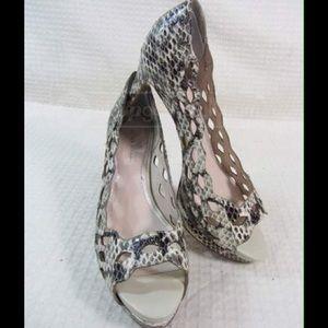 Elie Tahari Women's Croc Embossed Open Toe Shoes.