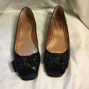 86fce546d0cbd4 BCBG Shoes - BCBG black peep toe flats with black jeweled bows